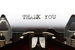 typewriter with text thank you