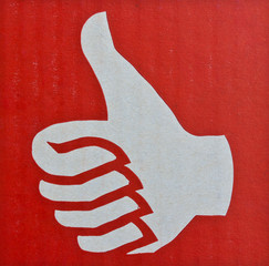 Thumb up , Like symbol in red background