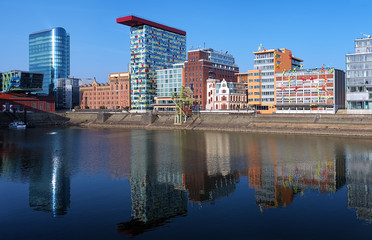Media Harbour of Dusseldorf with buildings in modern style