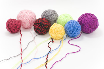 colored skeins of wool