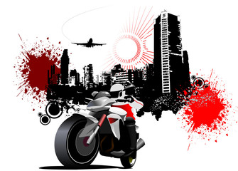 City biker on grunge urban background. Vector illustration