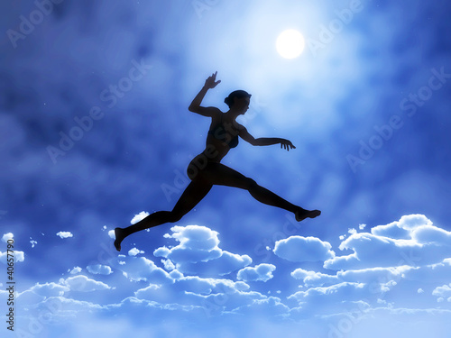 Young woman is jumping above the clouds