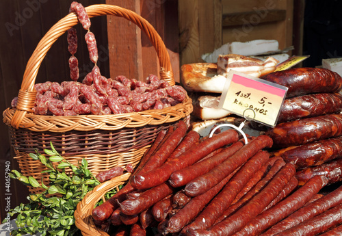 sausages for sale on food market in Krakow, Poland, Europe
