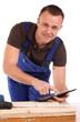 Handwerker mit Tablet PC