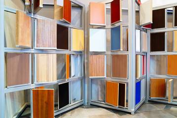 wooden panels samples in store