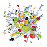 Fruit mix in water splash, isolated on white background