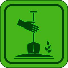 green garden icon - symbol landscaping