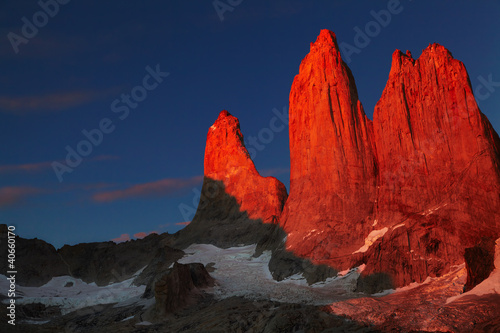 Torres del Paine at sunrise, Patagonia, Chile