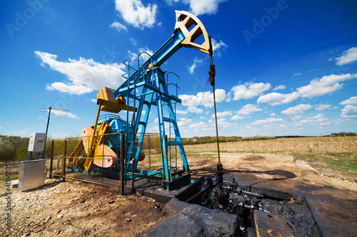 Oil pump under blue sky