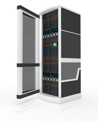 Server rack with open door
