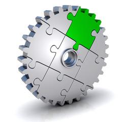 Zahnrad als Puzzle grün