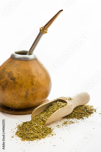 The composition of Yerba Mate - isolated on white background