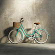 Old vintage romantic  green bicycle, stylish basket grungy wall