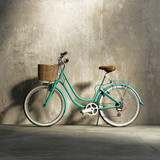 Fototapety Old vintage romantic  green bicycle, stylish basket grungy wall
