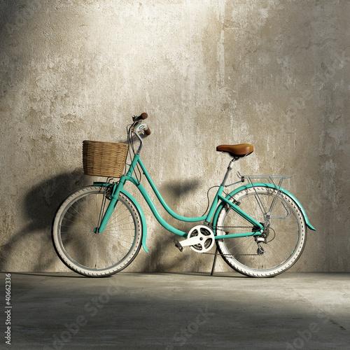 stary-vintage-romantyczny-zielony-rower-stylowy-kosz-grungy-sciany