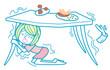 地震でテーブルの下に隠れる女性