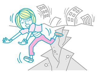 地震で逃げる女性