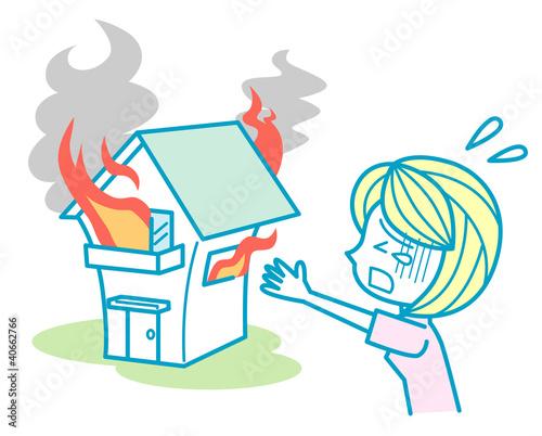 火事でショックを受ける女性