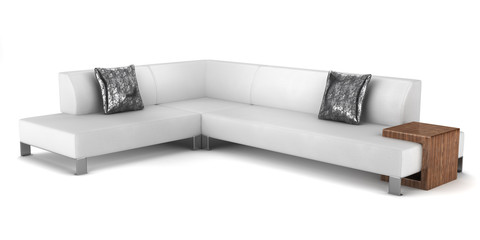 modern leather couch with pillows isolated on white background