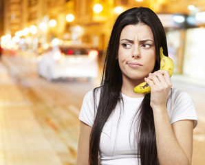 woman with a banana phone