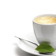 stevia plant and coffee cup, decorative background