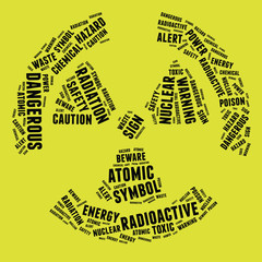 Radioactive warning sign in text illustration on yellow