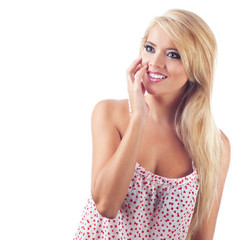 Portrait of surprised blond women, studio shot
