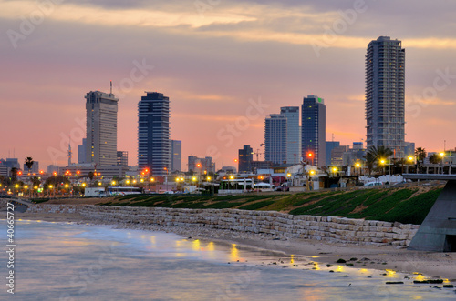 Tel Aviv Skyline on the Mediterranean Coast