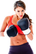 Fit woman boxing
