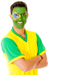 Man with Brazil flag