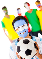 Group of footballs fan