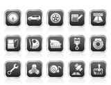 car parts, services and characteristics icons - vector icon set