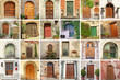 collage with vintage doors from Italy, Europe