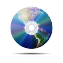 Icono CD 3d con planeta tierra