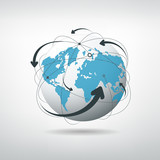 Fototapety Modern globe connections network design, vector illustration
