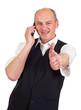 Man zeigt Daumen hoch beim telefonieren