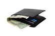 Wallet with dollar banknotes isolated with clipping path.