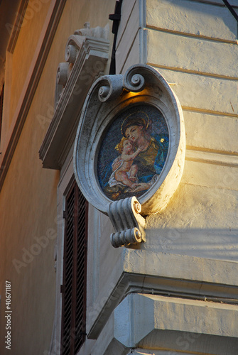 Rome Virgin Mary with a child, building decoration