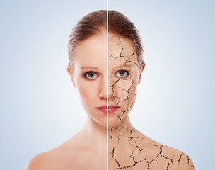 concept of cosmetic effects, treatment and skin care.  face of y