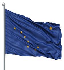 Waving Flag of USA state Alaska