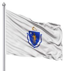 Waving Flag of USA state Massachusetts