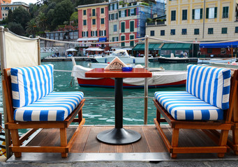 Street cafe in Portofino, Italy