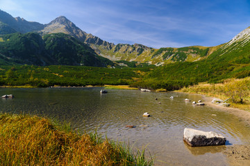 Beautiful lake in autumn colors in Tatra Mountains, Slovakia