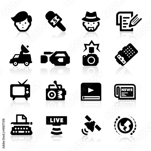 Reporter icons set – Elegant series