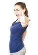 smiling teenage girl with thumb up, white background
