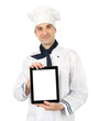 young cook man showing a digital tablet