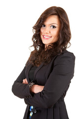 smiling young businesswoman in black jacket