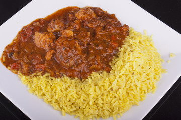 chicken jalfrezi with pilau rice