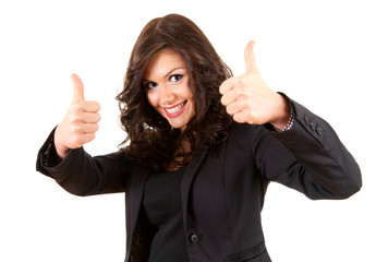standing young businesswoman with thumbs up