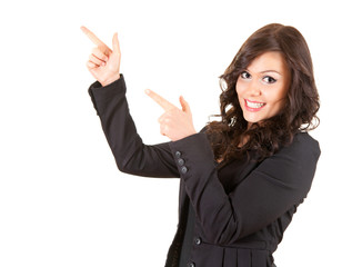 young, smiling businesswoman pointing up